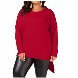 NY COLLECTION SWEATER TUNIC ASYMMETRICAL HEM RED